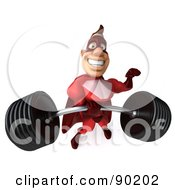 Royalty Free RF Clipart Illustration Of A 3d Red Super Hero Guy Lifting A Heavy Barbell Version 2