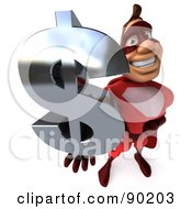 3d Red Super Hero Guy Holding A Dollar Symbol - 3