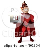 Royalty Free RF Clipart Illustration Of A 3d Red Super Hero Guy Holding A Silver House 1
