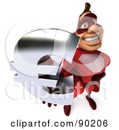 Royalty Free RF Clipart Illustration Of A 3d Red Super Hero Guy Holding A Euro Symbol 2