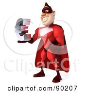 Royalty Free RF Clipart Illustration Of A 3d Red Super Hero Guy Holding A Euro Symbol 1
