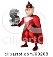 Royalty Free RF Clipart Illustration Of A 3d Red Super Hero Guy Holding A Dollar Symbol 2