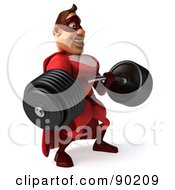 Royalty Free RF Clipart Illustration Of A 3d Red Super Hero Guy Lifting A Heavy Barbell Version 1