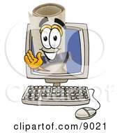 Clipart Picture Of A Diploma Mascot Cartoon Character Waving From Inside A Computer Screen by Toons4Biz