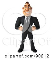 Royalty Free RF Clipart Illustration Of A 3d Macho Businessman Facing Front With His Hands On His Hips