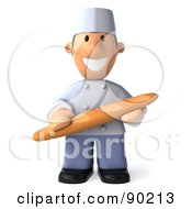 Royalty Free RF Clipart Illustration Of A 3d Chef Toon Guy Holding Bread And Facing Front by Julos