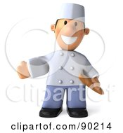 Royalty Free RF Clipart Illustration Of A 3d Chef Toon Guy Holding Bread 1