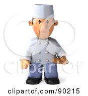 Royalty Free RF Clipart Illustration Of A 3d Chef Toon Guy Pouting And Holding Bread