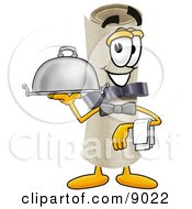 Clipart Picture Of A Diploma Mascot Cartoon Character Dressed As A Waiter And Holding A Serving Platter by Toons4Biz