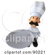 Royalty Free RF Clipart Illustration Of A 3d Chef Man Holding A Platter