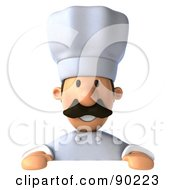 Royalty Free RF Clipart Illustration Of A 3d Chef Man Holding A Blank Sign