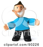 Royalty Free RF Clipart Illustration Of A 3d Casual Man Facing Front With Open Arms