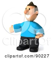 Royalty Free RF Clipart Illustration Of A 3d Casual Man Facing Left With Open Arms