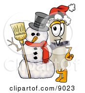 Clipart Picture Of A Diploma Mascot Cartoon Character With A Snowman On Christmas by Toons4Biz