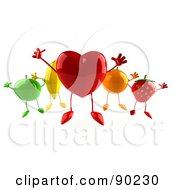 Royalty Free RF Clipart Illustration Of A 3d Heart Jumping With Healthy Fruit by Julos