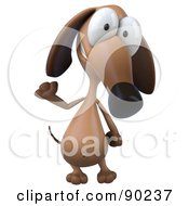 Royalty Free RF Clipart Illustration Of A 3d Brown Pookie Wiener Dog Character Smiling And Waving