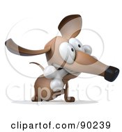 Royalty Free RF Clipart Illustration Of A 3d Brown Pookie Wiener Dog Character With A Bone In His Mouth Version 2
