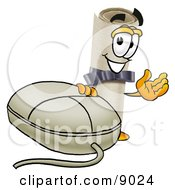 Clipart Picture Of A Diploma Mascot Cartoon Character With A Computer Mouse by Toons4Biz