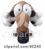 Royalty Free RF Clipart Illustration Of A 3d Brown Pookie Wiener Dog Character With A Bone In His Mouth Version 1