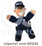 Royalty Free RF Clipart Illustration Of A 3d Police Toon Guy Jumping