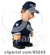 Royalty Free RF Clipart Illustration Of A 3d Police Toon Guy Pouting