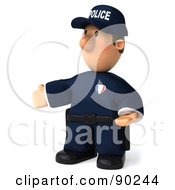Royalty Free RF Clipart Illustration Of A 3d Police Toon Guy Gesturing And Facing Left