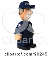 Royalty Free RF Clipart Illustration Of A 3d Police Toon Guy Standing And Facing Right