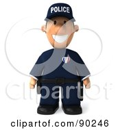 3d Police Toon Guy Standing And Facing Front