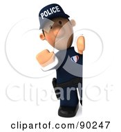 Royalty Free RF Clipart Illustration Of A 3d Police Toon Guy Looking Around A Blank Sign 1 by Julos