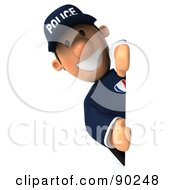 Royalty Free RF Clipart Illustration Of A 3d Police Toon Guy Looking Around A Blank Sign 2