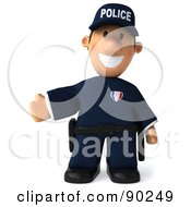 Royalty Free RF Clipart Illustration Of A 3d Police Toon Guy Gesturing And Facing Front