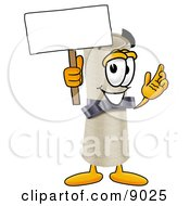 Clipart Picture Of A Diploma Mascot Cartoon Character Holding A Blank Sign by Toons4Biz