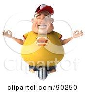 3d Chubby Burger Man In Lotus Pose - 1