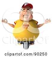 Royalty Free RF Clipart Illustration Of A 3d Chubby Burger Man In Lotus Pose 1