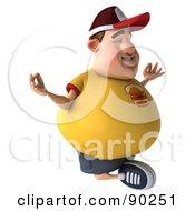 3d Chubby Burger Man In Lotus Pose - 2