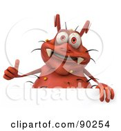Royalty Free RF Clipart Illustration Of A 3d Rodney Germ Character With A Thumb Up And A Sign