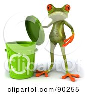 Royalty Free RF Clipart Illustration Of A 3d Springer Frog With A Recycle Bin Version 1