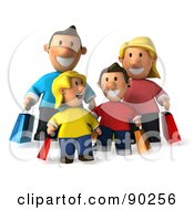 Royalty Free RF Clipart Illustration Of A 3d Happy Caucasian Family Shopping 1