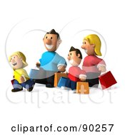 Royalty Free RF Clipart Illustration Of A 3d Happy Caucasian Family Shopping 2