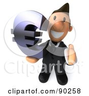 Royalty Free RF Clipart Illustration Of A 3d Business Toon Guy With A Euro Symbol And Thumb Up by Julos