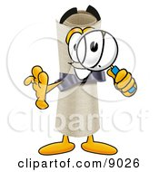 Clipart Picture Of A Diploma Mascot Cartoon Character Looking Through A Magnifying Glass