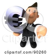 3d Business Toon Guy With A Euro Symbol And Thumb Down