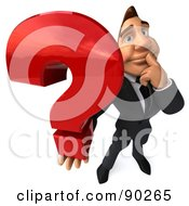 Royalty Free RF Clipart Illustration Of A 3d Macho Businessman Holding A Question Mark 2