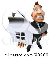 Royalty Free RF Clipart Illustration Of A 3d Macho Businessman Holding A Silver House 2