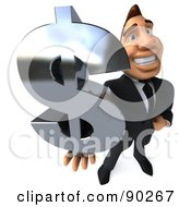 Royalty Free RF Clipart Illustration Of A 3d Macho Businessman Dollar Symbol 2