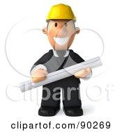 3d Male Architect Guy Holding Blueprints - 1