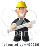 Royalty Free RF Clipart Illustration Of A 3d Male Architect Guy Holding Blueprints 1