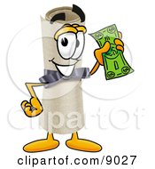 Clipart Picture Of A Diploma Mascot Cartoon Character Holding A Dollar Bill by Toons4Biz