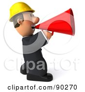 Royalty Free RF Clipart Illustration Of A 3d Male Architect Guy Announcing 2