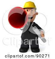 Royalty Free RF Clipart Illustration Of A 3d Male Architect Guy Announcing 1